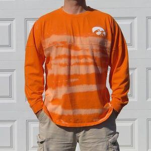 Iowa Hawkeyes Orange Stripe Bleach Long Sleeve Tee